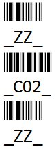ZZ, C02, and ZZ barcode with the proper start/stop characters indicated in the human-readable text.